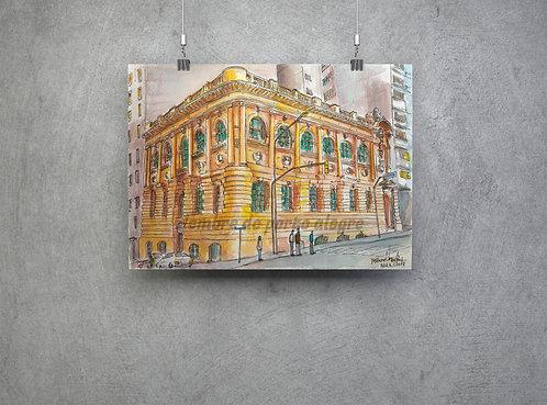 """Pôster """"Biblioteca Pública"""" - imagem n.34 da Coleção """"Lembre de Porto Alegre"""""""