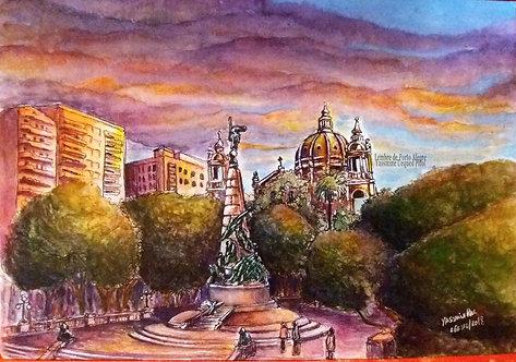 Kit com cinco cartões - Vista da Praça da Matriz