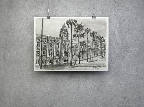 """Pôster """"Praça da Alfândega""""- Imagem n.16 Coleção """"Lembre de Porto Alegre"""""""