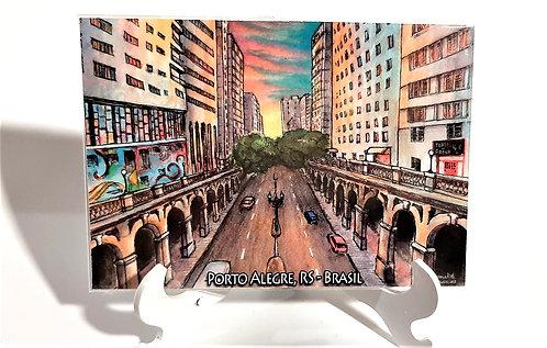 Kit com cinco ímãs  -  Viaduto Otávio Rocha (Porto Alegre, RS)