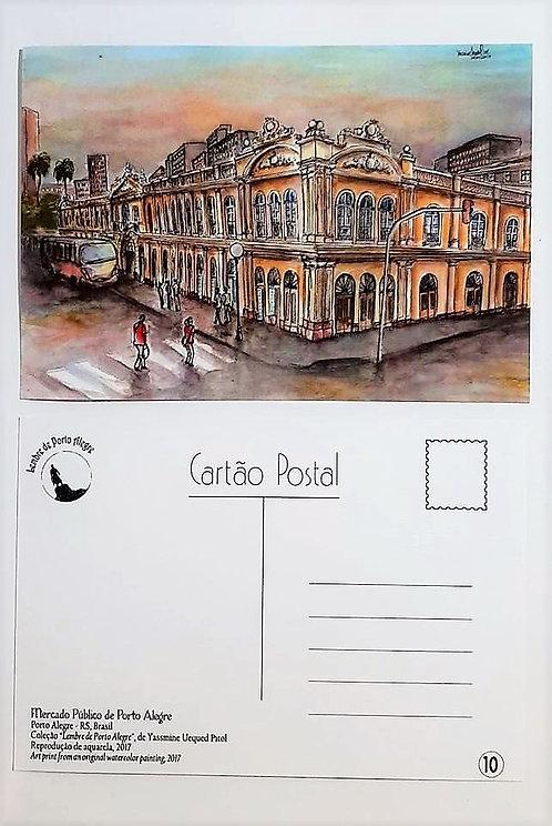 Kit com cinco cartões postais - Mercado Público - Porto Alegre