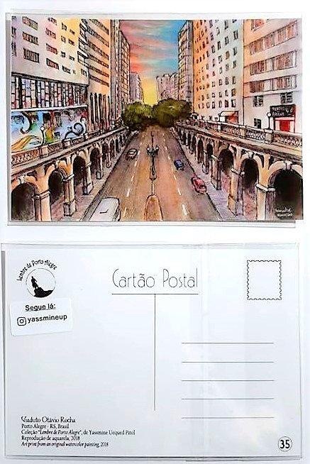 Kit com cinco cartões postais -  - Viaduto da Borges - vista central