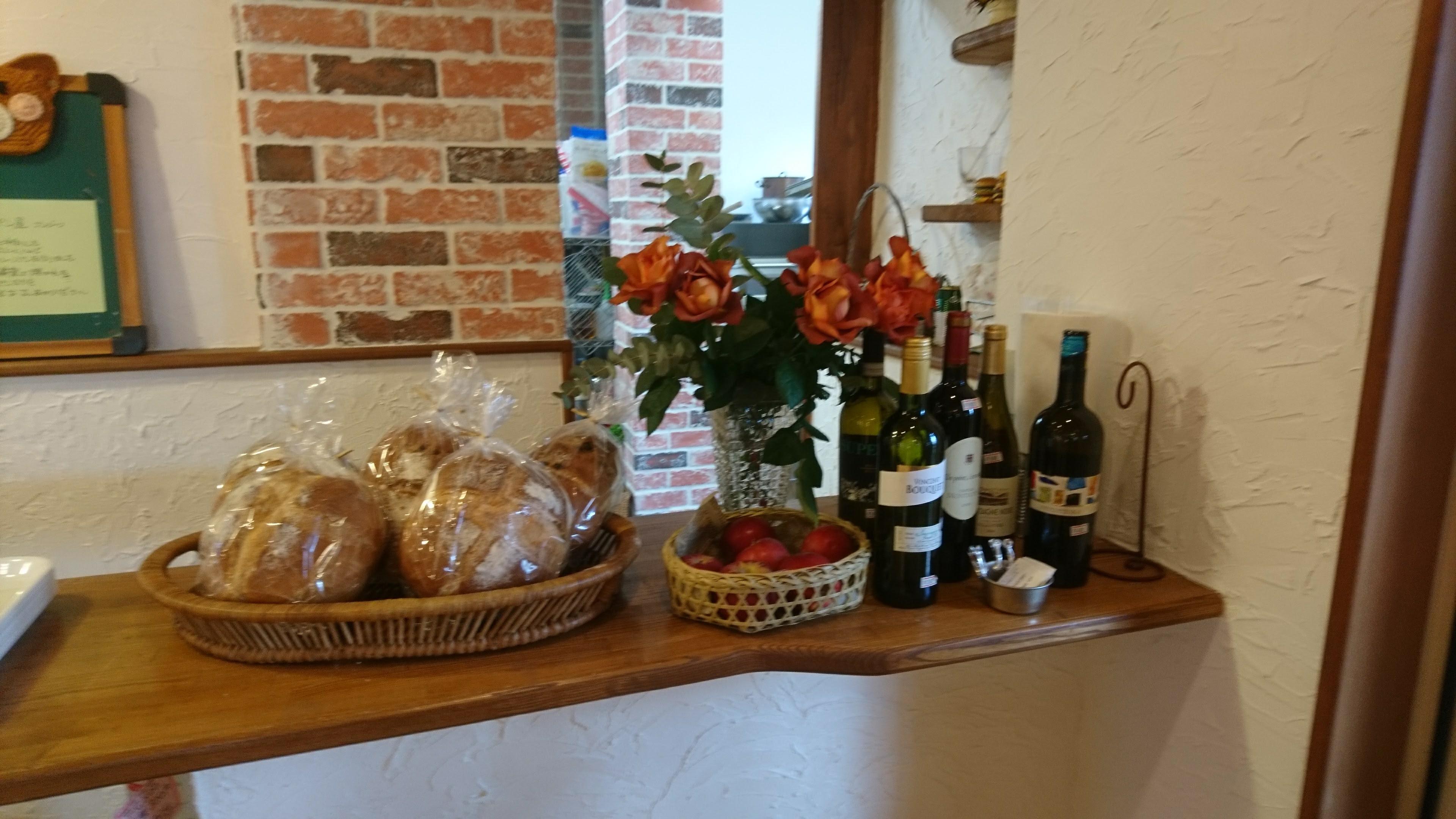 パンとワインとお花