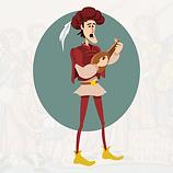 Illustration of medieval musician.