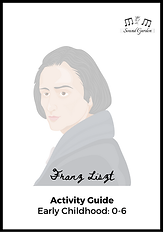 Cover page of Composer Activity Guide: Franz Liszt. Illustration of Franz Liszt with title text.
