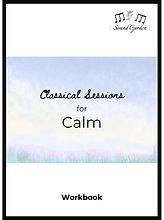 "Cover page for ""Classical Sessions for...Calm"". Watercolour background with title information."