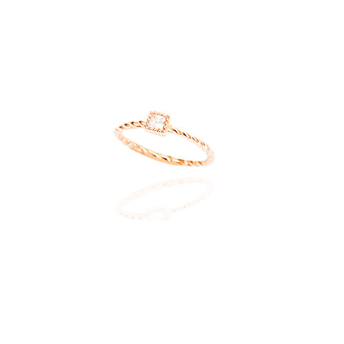 Square Twisted Solitaire Ring