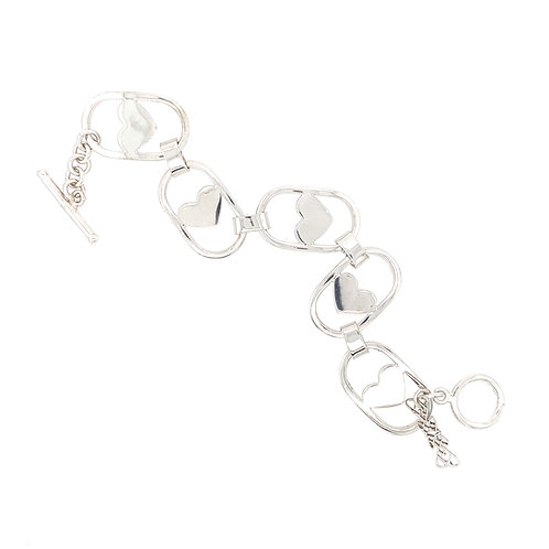 Bracelet Coeurs Rhodium