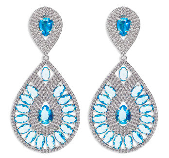 Party Drop Earrings Light Blue