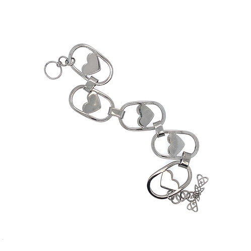 Bracelet Coeurs Rhodium Noir