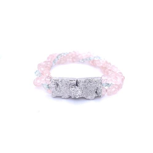 "Bracelet ""Natureza Concreta"" Quartz rose et Aigue-marine"