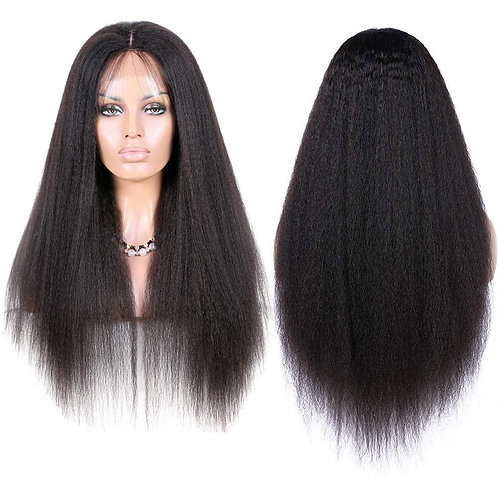 Kinky Straight Lace Front Human Hair Wigs 18 Inch