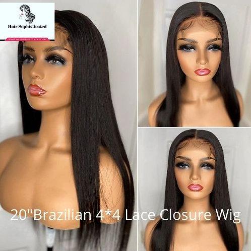 """20"""" Brazilian 4x4 Lace Closure Wig"""