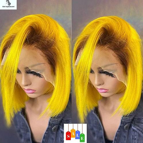 Yellow Bob Wig For Men