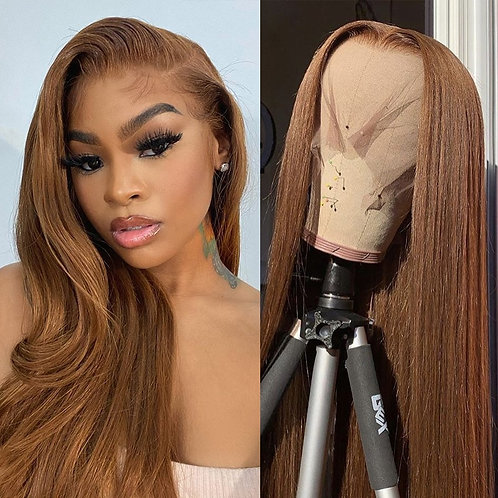 Lace Front Human Hair Wigs Color#4 Straight Hair