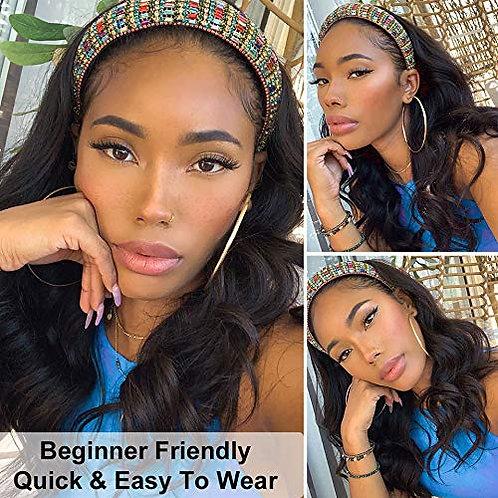 Headband Wigs for Women Long Body Wavy Black Wig