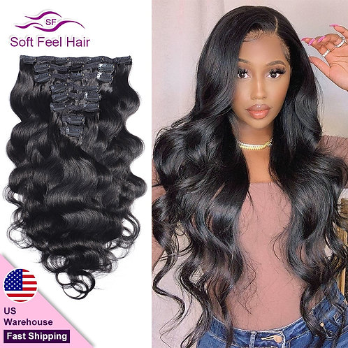 Clip in Human Hair Extensions 8 Pcs