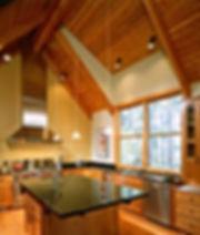Bomgardner Residence vaulted wood ceiling in kitchen - Pelletier + Schaar