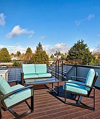 Ballard townhomes roof plan with roof deck - Pelletier + Schaar