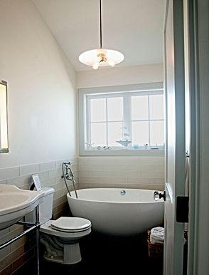 Morelli; white tiled bathroom with vessel tub - Pelletier + Schaar