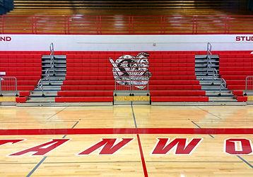 Stanwood High School bleachers with Spartan graphics - Pelletier + Schaar