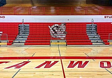 Stanwood High School bleachers with Spartan graphics - Pelletier + Schaar