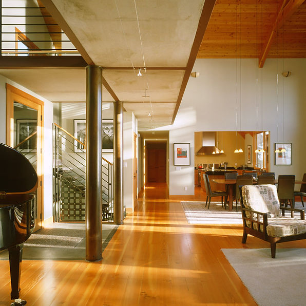 Bomgardner Residence great room with contemporary balcony / bridge and steel stairs and railings - Pelletier + Schaar