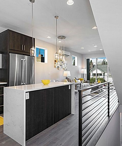 Ballard townhomes second floor plan, main living area - Pelletier + Schaar