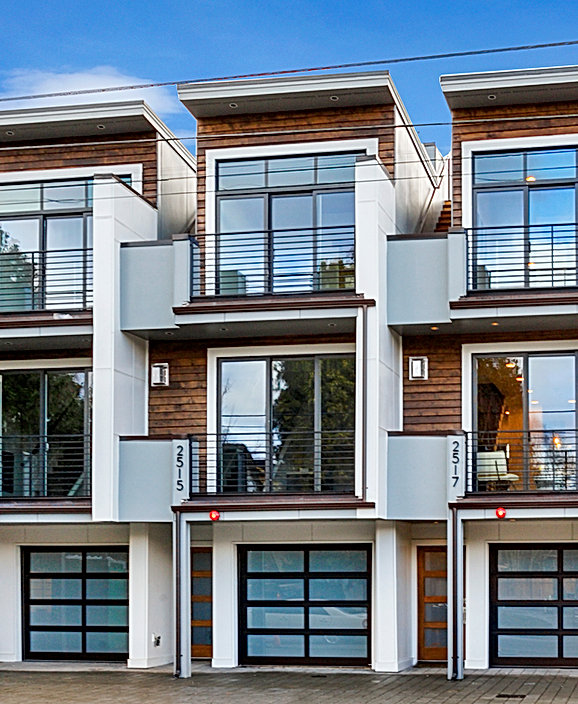 Ballard Townhomes: a Northwest contemporary infill project with shed roofs and roof decks - Pelletier + Schaar