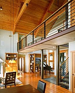 Bomgardner Residence great room with balcony / bridge and grand piano - Pelletier + Schaar