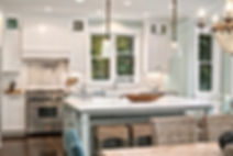Island Farmhouse white kitchen and bar - Pelletier + Schaar