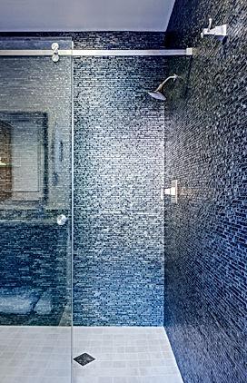 Camano Residence master bathroom blue glass tiled shower - Pelletier + Schaar
