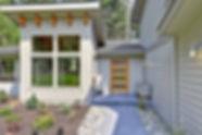 Ruebel carriage house from garden path - Pelletier + Schaar