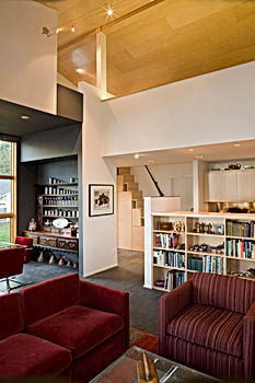 Ruebel carriage house from garden path - Pelletier + Schaar