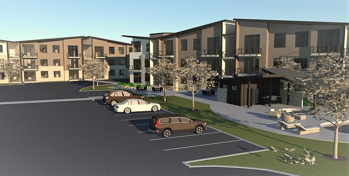 Allegro II at Ash Creek three story garden walk-up apartments elevation - Pelletier + Schaar
