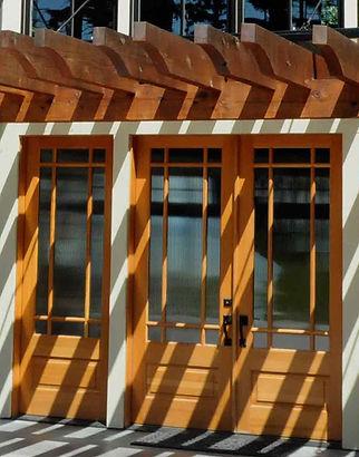 Bomgardner Residence steel and wood trellis over deck - Pelletier + Schaar
