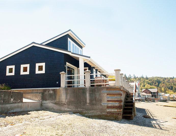 Morelli; black shingled beach cottage with shed dormer - Pelletier + Schaar