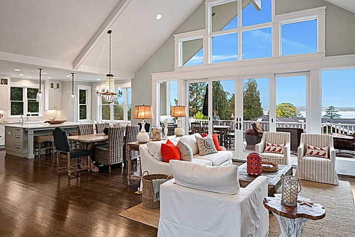 Island Farmhouse open kitchen and dining with beams and french door - Pelletier + Schaar