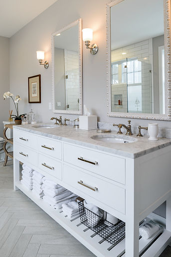 O'Neill Residence master bathroom with white vanity and marble floors and tile - Pelletier + Schaar