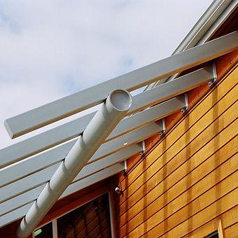 Randel Dental contemporary steel trellis at entry - Pelletier + Schaar