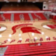 Stanwood High School Spartan's refinished gym floor and new bleachers - Pelletier + Schaar