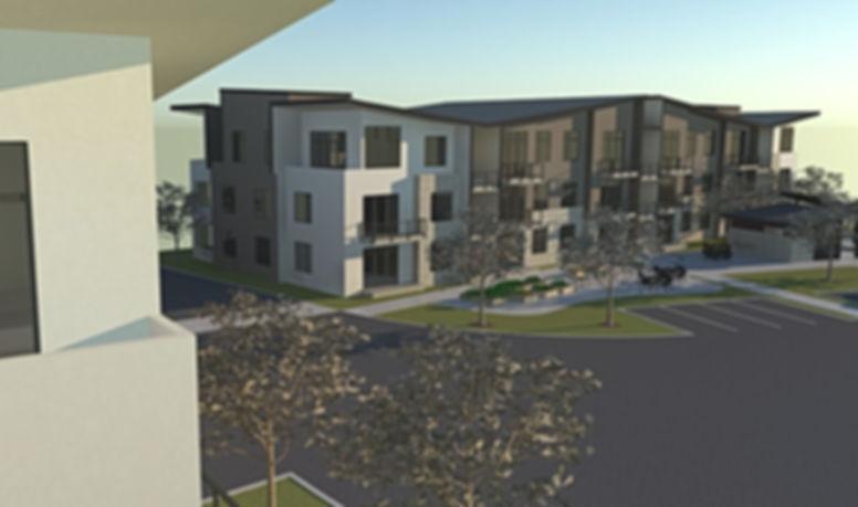 Allegro II at Ash Creek site plan with open space, paths, swimming pool and club house weaved between apartment buildings - Pelletier + Schaar