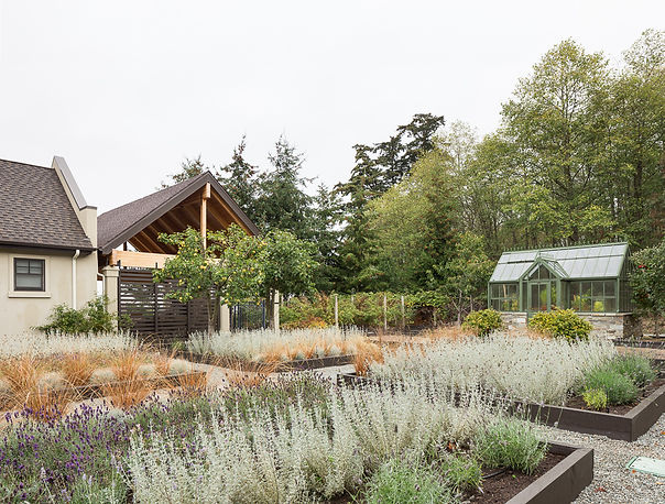 English gardens with greenhouse, leading to covered porch - Pelletier + Schaar