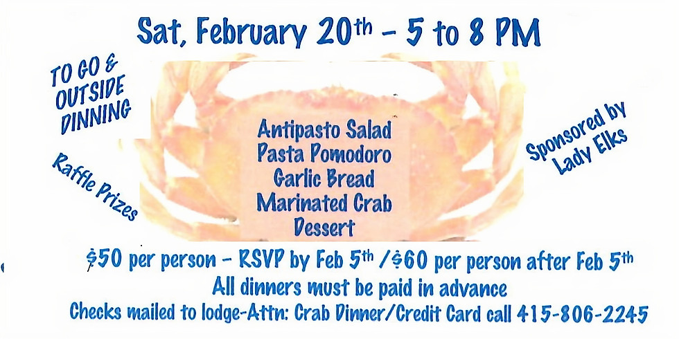 SOLD OUT - SOLD OUT - Elks Crab Feed
