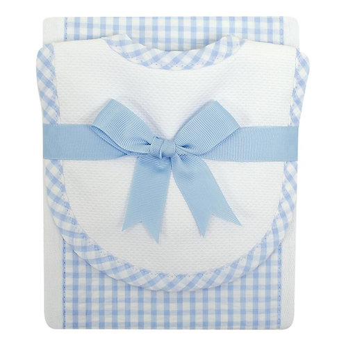 Blue Check Bib & Burp Set