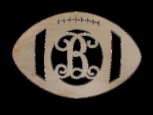 Wood Monogram Football