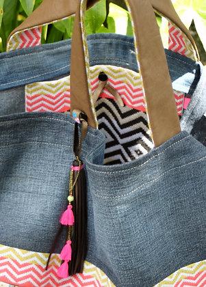 Grand cabas jeans ethnique franges et pompon
