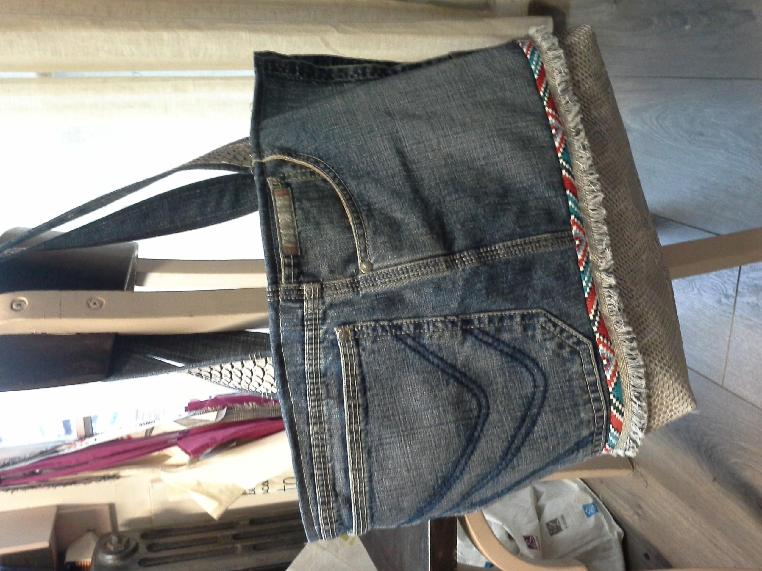 Cabas jeans et skai