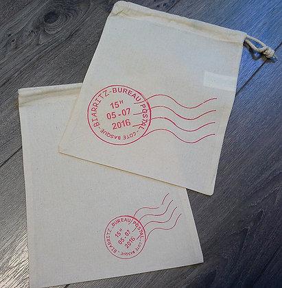 Petits sacs coton - air mail Biarritz ou personnalisable