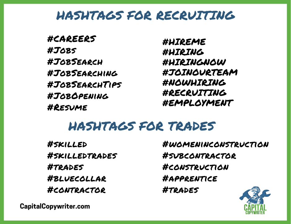 Hashtags to use for recruiting in the trades